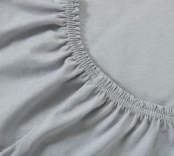 Купить серую трикотажную простынь на резинке